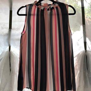 Sleeveless LOFT billowy stripes blouse M